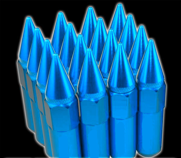 60mm Tuner Racing Lug Nuts 14x1.5 For Wheels / Rim , Blue Extended Lug Nuts